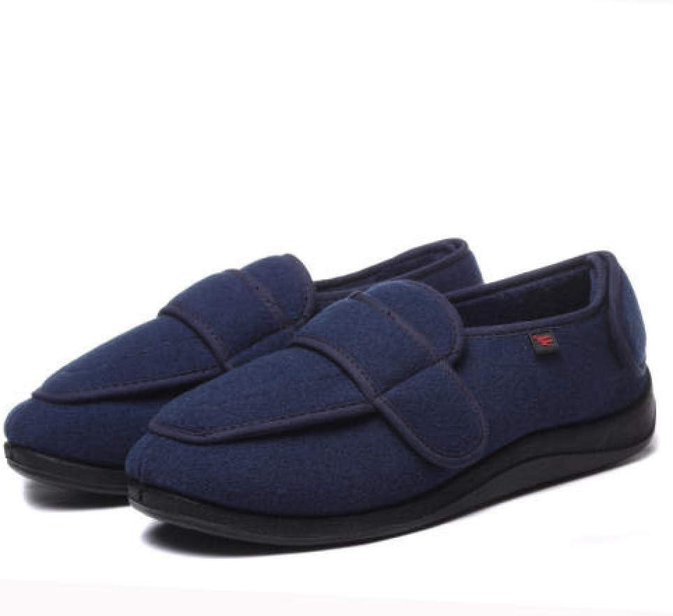 TDYSDYN Calzado OrtopéDico Ajustable para Artritis,Zapatos Blandos para Caminar de Gran tamaño, Zapatos cálidos y de Terciopelo ensanchados y Ajustables-Blue_47