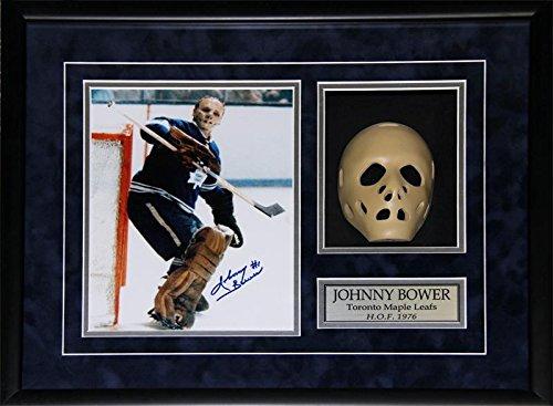 Midway Memorabilia Johnny Bower Toronto Maple Leafs Signed 8x10 Goalie Mask NHL Hockey Frame (Goalie Toronto Masks)