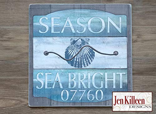 DASON Custom Beach Badge Wood Sign Customize with Any Town Jersey Shore Beach Badge New Jersey DecorBeach House Sign