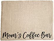 Mom's Coffee Bar - Burlap Coffee Maker Placemat, Coffee Lover Mother's Day gift, made in