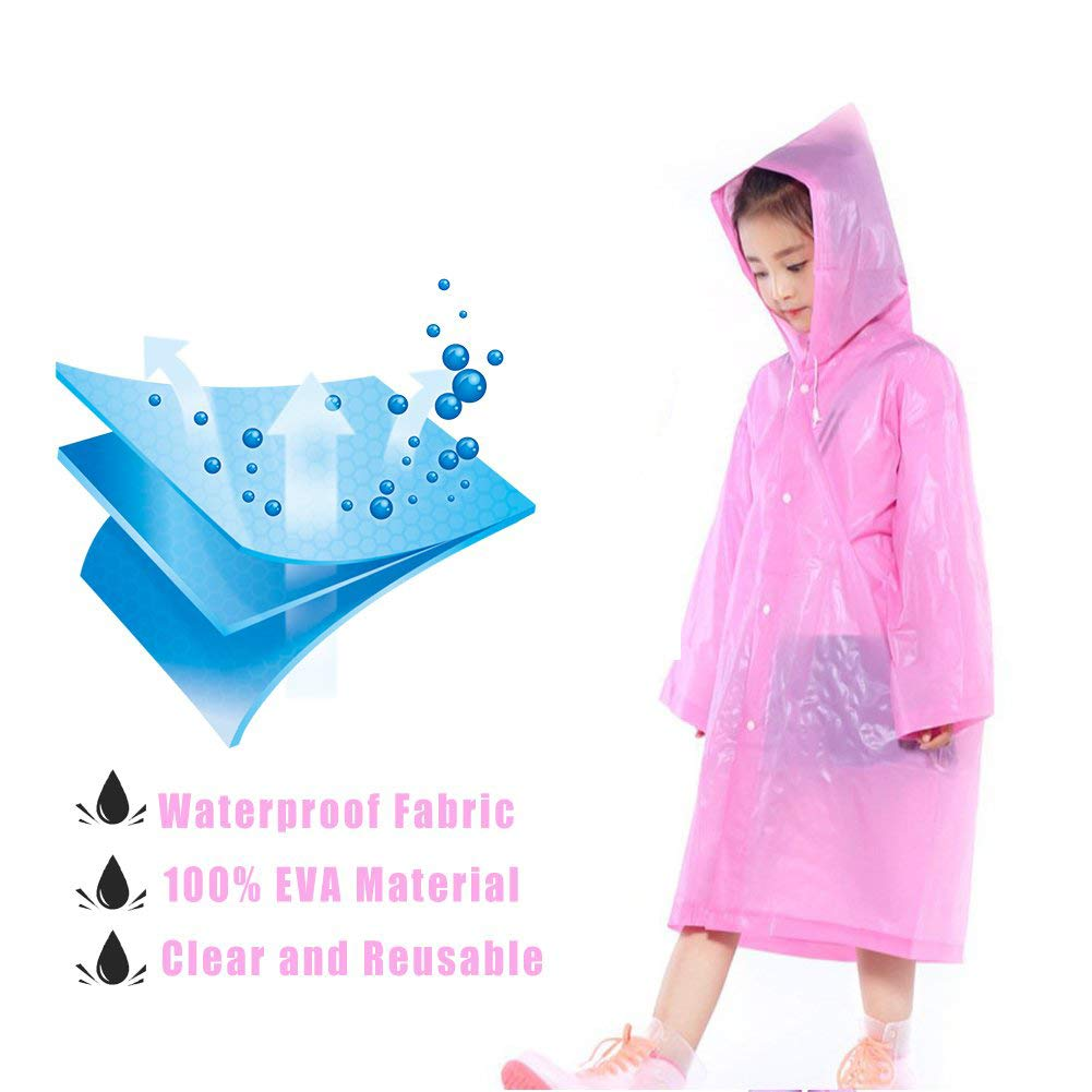 Kids Rain Poncho Raincoats, Lightweight Waterproof Reusable Rain Jacket Coat with Hooded for Girls Boys, Portable Poncho Rainwear for Outdoor/Camping/Hiking/Parks, 2 Pack Blue & Pink Rain Poncho