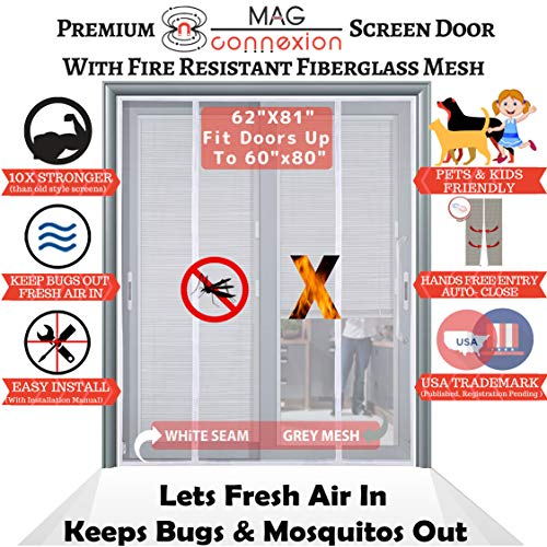 Mag-Connexion Fiberglass Screen Door | Bug & Mosquito, Fire and Rip Proof, Kids & Pets Friendly (62