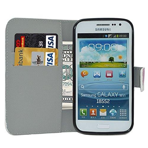 Funda Iphone, Lotus patrón Flip caja de cuero con titular y ranuras para tarjetas y cartera para Samsung Galaxy Win / I8552 ( SKU : S-SCS-3796B ) S-SCS-3796K