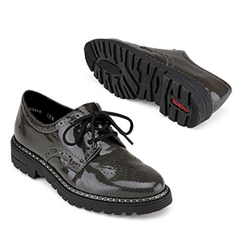 mujer Zapatillas grau para de cuero Rieker 54803 pZqw1Xa