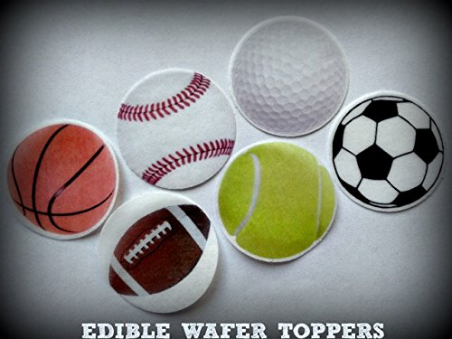 24 SOCCER BASKETBALL GOLF TENNIS BASEBALL FOOTBALL BALL BALLS SPORTS PRECUT EDIBLE CUPCAKE TOPPERS 1.5