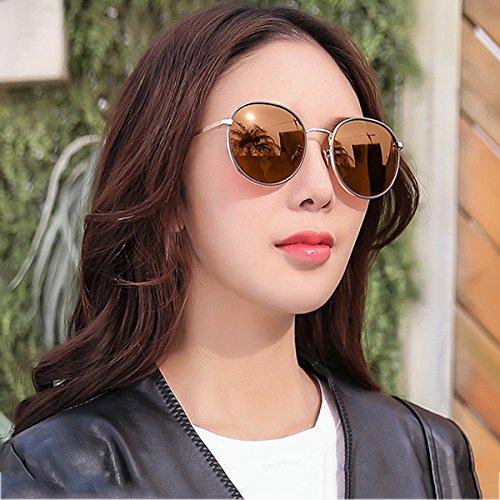 frame UVA cara redonda WLHW espejo Gold frame femeninas coreano Drive Travel de tea Gold UVB mercury sol Party Gafas Color Party polarizadas wqAnWRzwx