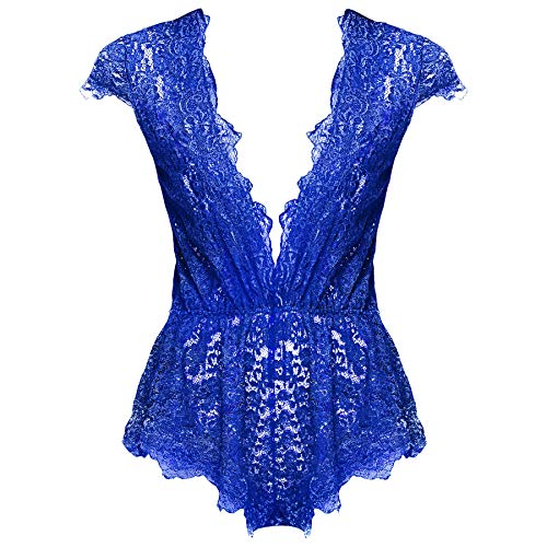 Ruzishun Womens Sexy Lingerie for Women Lace Teddy Lingerie Deep V Open Plus Size Nightgown(Blue,L)