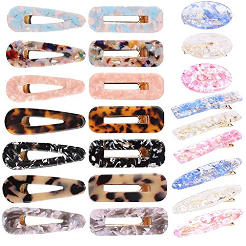 PIAOPIAONIU 23 Pcs Acrylic Resin Hair Clips Alligator Hair Barrettes Pins for Women Girls Geometric Rectangle Oval Hairpins Headwear Barrette Styling Tools Hair Accessories