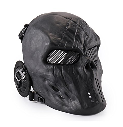 Full Face Airsoft Mask, GTBonad Adjustable Mask, Metal Mesh Eyes and Ears Protection, for Shooting, Paintball, Halloween Costume, Outdoor Activities (Updated Version 2018) ​ (Black, Metal Mesh) -