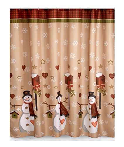 Country Snowman Fabric Christmas Bathroom Shower Curtain