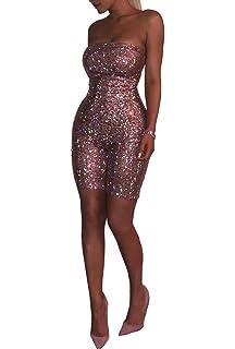 8369e4ba03 OLUOLIN Women Sexy Sparkly Sequin Jumpsuit Strapless Off Shoulder Backless  Zipper Bodycon Short Romper