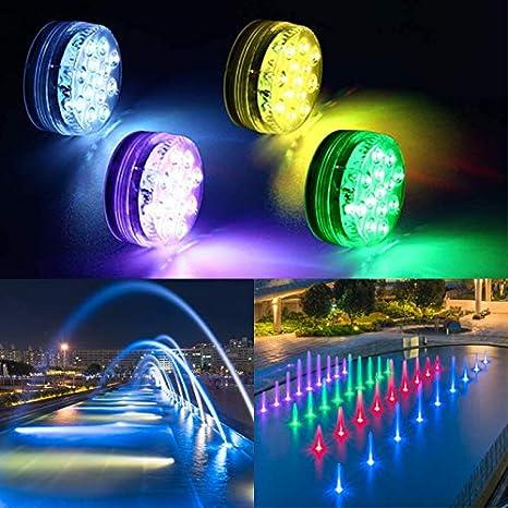 spa e feste vasca idromassaggio multicolore 4 pezzi Luce subacquea a LED lampadine per piscina impermeabile decorazione per vasca da bagno con 13 LED RGB e telecomando RF doccia