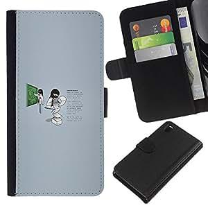 YiPhone /// Tirón de la caja Cartera de cuero con ranuras para tarjetas - Profesor Trabajador - Sony Xperia Z3 D6603