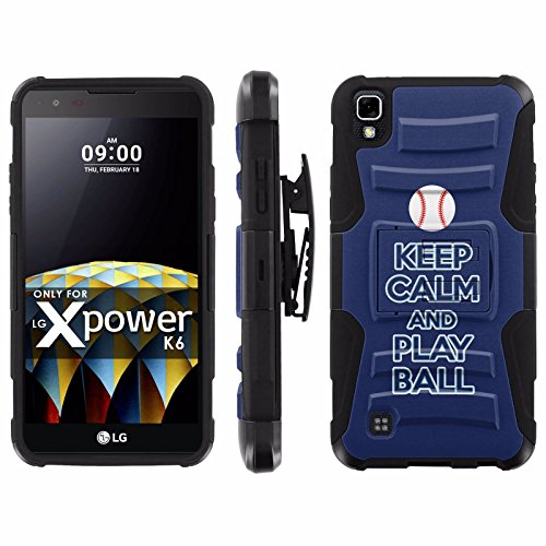 LG X Power [K210 K450 K6 K6P K220 US610] Armor Case [Mobiflare] [Black/Black] Blitz Armor Phone Case [Holster] Screen Protector - [Play Ball - Tampa Bay] for LG X Power