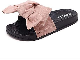 Yingsssq Pantofole da Donna Sandali Estivi da Spiaggia Bow Casual Infradito, Rosso, 36 (Colore : Nero, Dimensione : 41)