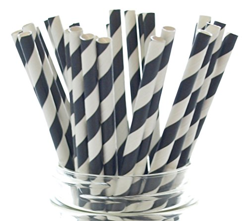 Chocolate Cupcake Recipes For Halloween (Black Retro Striped Paper Drinking Straws - 25 Pack - Strong, Biodegradable & Durable Party Decoration, Black Striped Straws)