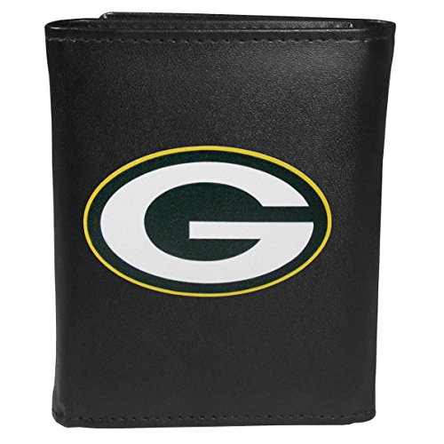 Siskiyou Sports NFL Green Bay Packers Tri-fold Wallet Large Logo, Black