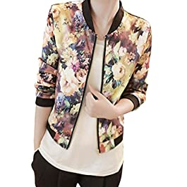 Clearance Sale! Women Stand Collar Long Sleeve Zipper Floral Printed Bomber Jacket