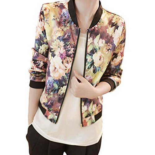 - Clearance Sale! Women Stand Collar Long Sleeve Zipper Floral Printed Bomber Jacket (2X, Yellow)