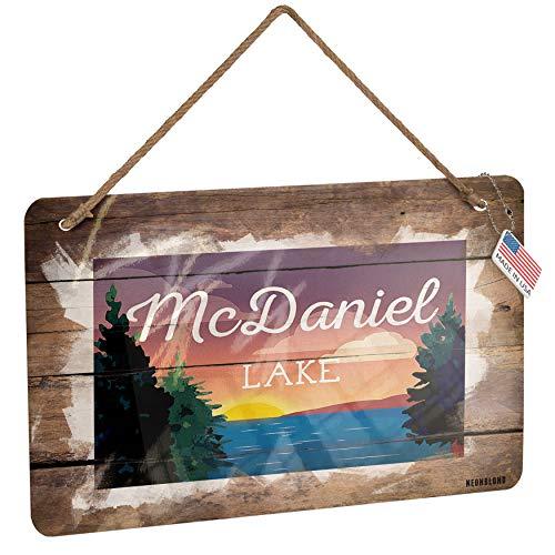 NEONBLOND Metal Sign Lake Retro Design McDaniel Lake Christmas Wood - Mcdaniel Metals
