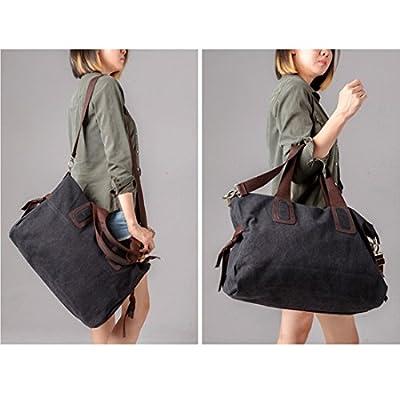 BMC Womens Canvas Material Double Top Handle Large Shopper Tote Handbag
