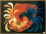 """""""COCKFIGHT,""""Spanish""""Encanto""""Tapestry PUZZLE,15.5'' X 20.5""""Original Mid-Century Modern, c.1965,100% Virgin Wool Felt,Mint Condition.Do-It-Yourself complete Puzzle kit:more fun, save money too!"""