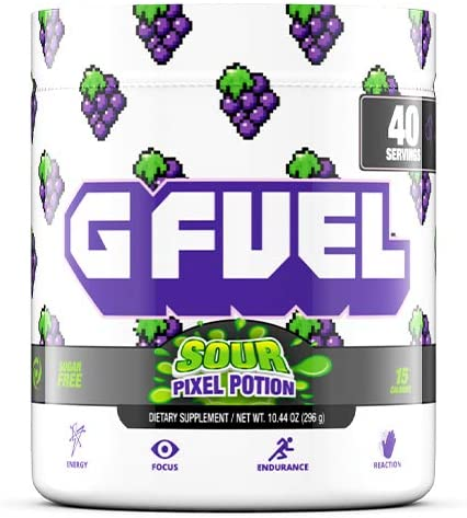 G Fuel Sour Pixel Potion 40 Servings Elite Energy and Endurance Formula 10.44 oz. Inspired by Our Love for Twitch