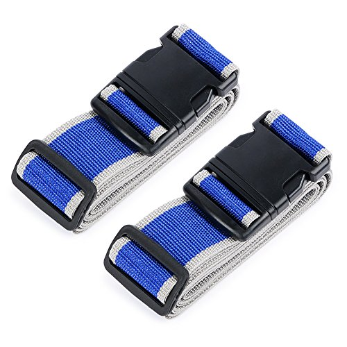 HOLLY TRIP Pack of 2 Luggage Straps, Adjustable Luggage Strap Belts Travel...