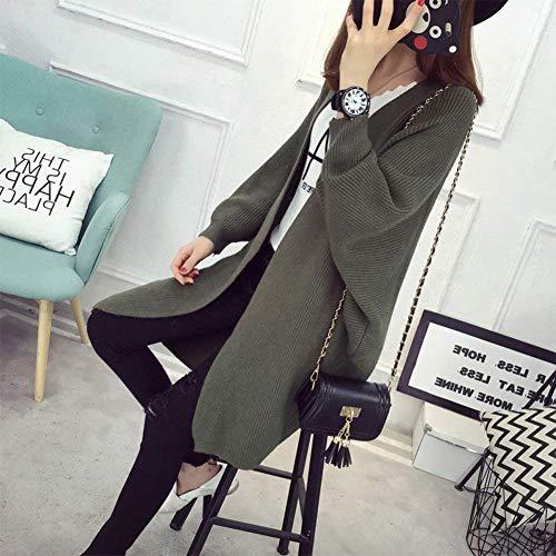 Slim Fashion Grün Punto Fit Cardigan Retro Tejido Joven Otoño De Unicolor Murciélago Moda Mujer Abrigos Primavera Chaqueta Mangas Largos Elegantes Abrigo Casual qwAw6BTx1