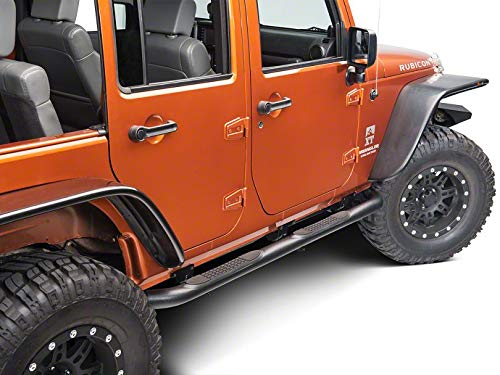 RED ROCK Redrock 4x4 3 in. Round Curved Side Step Bars - Textured Black - for Jeep Wrangler JK 4 Door 2007-2018