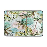 Hawaii Style Tropical Palm Tree Colorful Indoor/Outdoor Door Mat Super Absorbs Mud Floor Mat 23.6 x 15.7 Inch Slip-Resistant Rubber Backing Design by MOCK ST