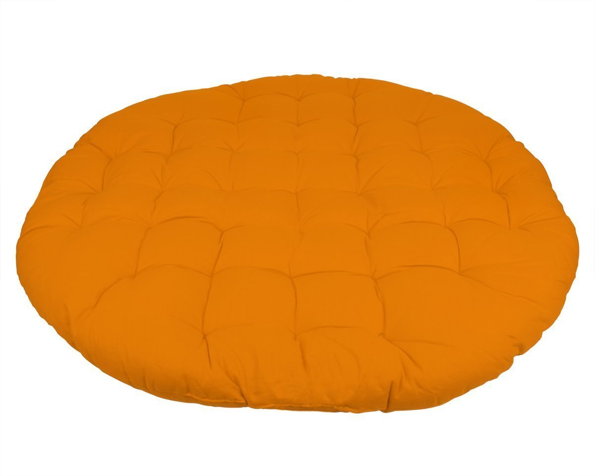 Store Indya Papasan Cushion Round Lounge Chair Seat Floor Pillow for Maximum Comfort Pure Cotton 39.5 Inch Diameter Blazing Orange
