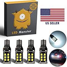 LED Monster 4-Pack Extremely Bright Backup Reverse Lights 15-SMD T10 T15 194 921, 15 Chipsets, Xenon White, 1600 Lumens, No Hyper Flash