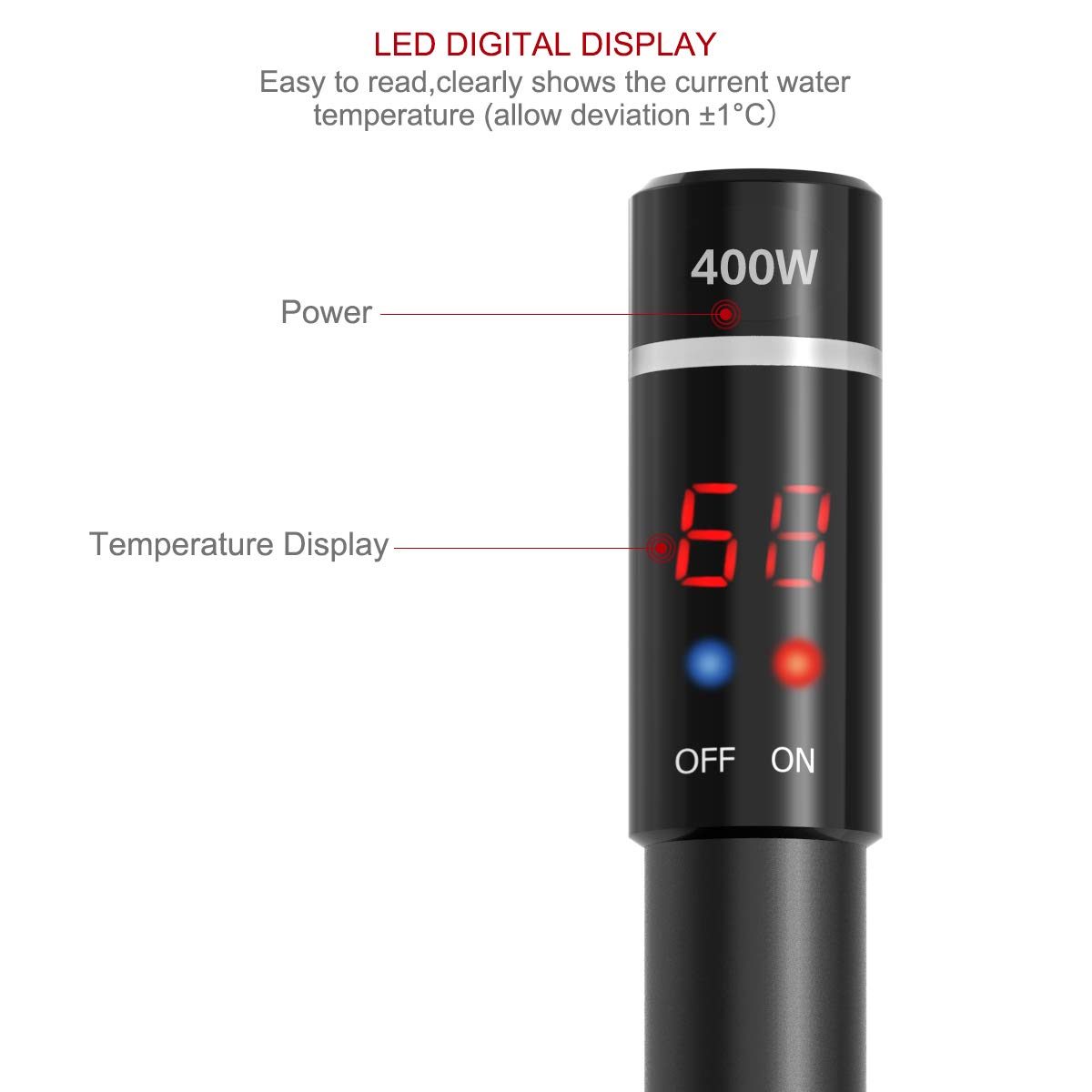 UEETEK Aquarium Heater 400W, Submersible Titanium Fish Tank Heaters Thermostat with Intelligent LED Temperature Display by UEETEK (Image #2)
