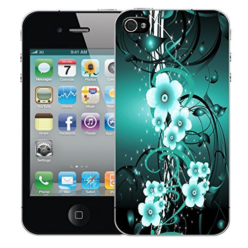 Mobile Case Mate iPhone 4s Silicone Coque couverture case cover Pare-chocs + STYLET - Blue Flower Vine pattern (SILICON)