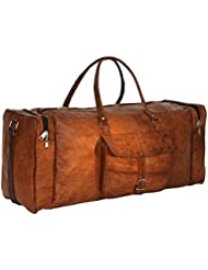 HLC Leather Duffel Bag for Men and Women Weekend Travel Luggage Gym Tote Bag