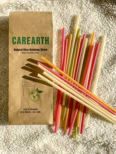 (CAREARTH-100% Natural Biodegradable, Eco-Friendly, Edible Rice Drinking Straws-Mix Color-Pack of 120)