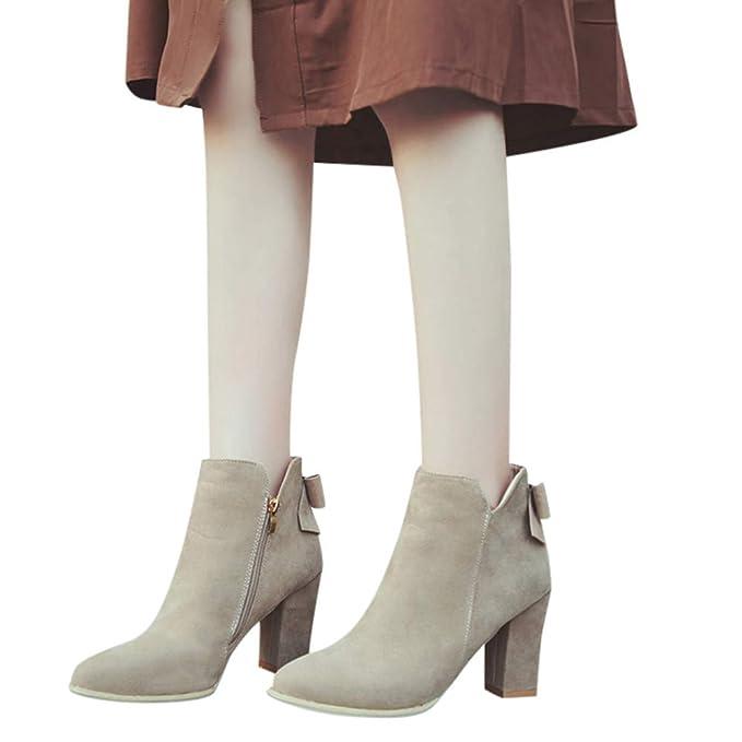 ❤ Botas Cortas para Mujer tacón Alto, Mujer Rebaño Ponited Toe Bow Boots Botines Tacones Altos Zipper Zapatos Absolute: Amazon.es: Ropa y accesorios