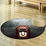 Round Area Rug Jukebox Scary Movie Theme Old Abandoned Home with Antique Old Music Box Image Petrol Green and Brown Indoor/Outdoor Round Area Rug R-47