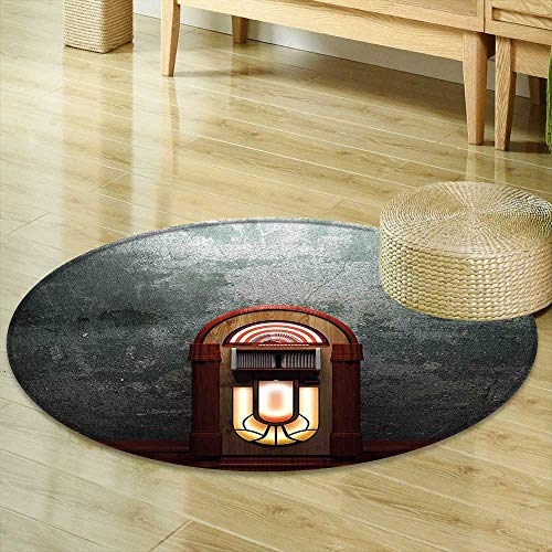 Round Area Rug Jukebox Scary Movie Theme Old Abandoned Home with Antique Old Music Box Image Petrol Green and Brown Indoor/Outdoor Round Area Rug R-47 by Mikihome