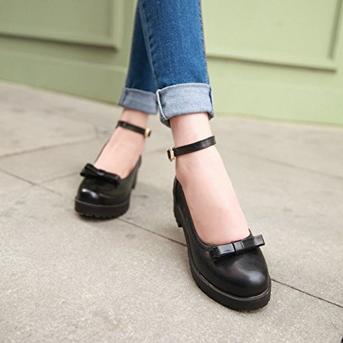 Show Shine Womens Fashion Retro Bow Ankle Strap Flats Shoes Black Bh0Cc82