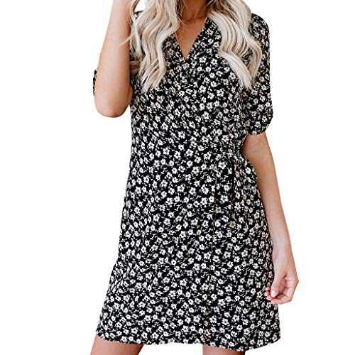 Women Bohemia Dress Bxzhiri Casual V-Neck Sleeveless Dot Tie Waist Bodycon Dress Black ()