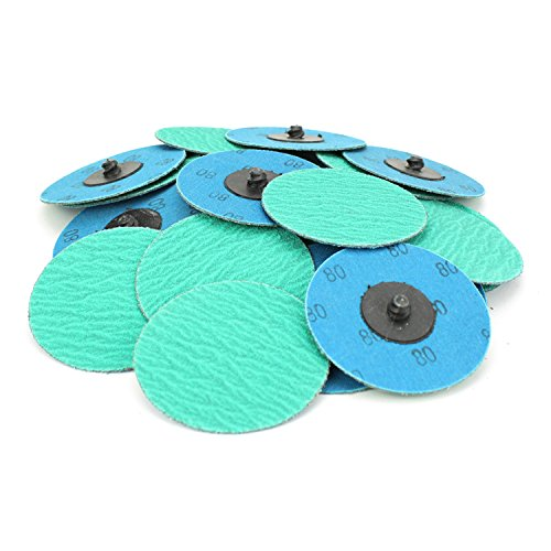 25 Pack - 3'' Green Zirconia with Grind Aid Quick Change Sanding Discs Type R Male - Roll On (80 Grit)… by Black Hawk