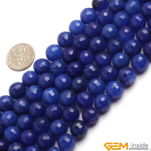 10mm Round Faceted Gemstone Blue Jade Beads Strand 15 InchJewelry Making Beads