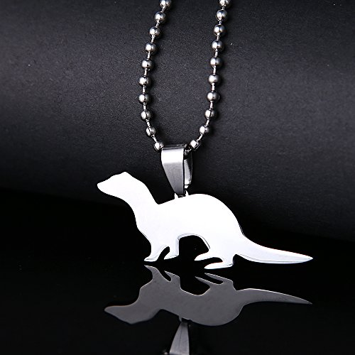 Dogdotnet Stainless Steel Ferret Pet Tag Breed Collar Charm Pendant Necklace