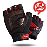 Cycling Gloves, Gel Silicone Pad Fingerless Bike Gloves with Breathable Vent Holes Shock-Absorbing