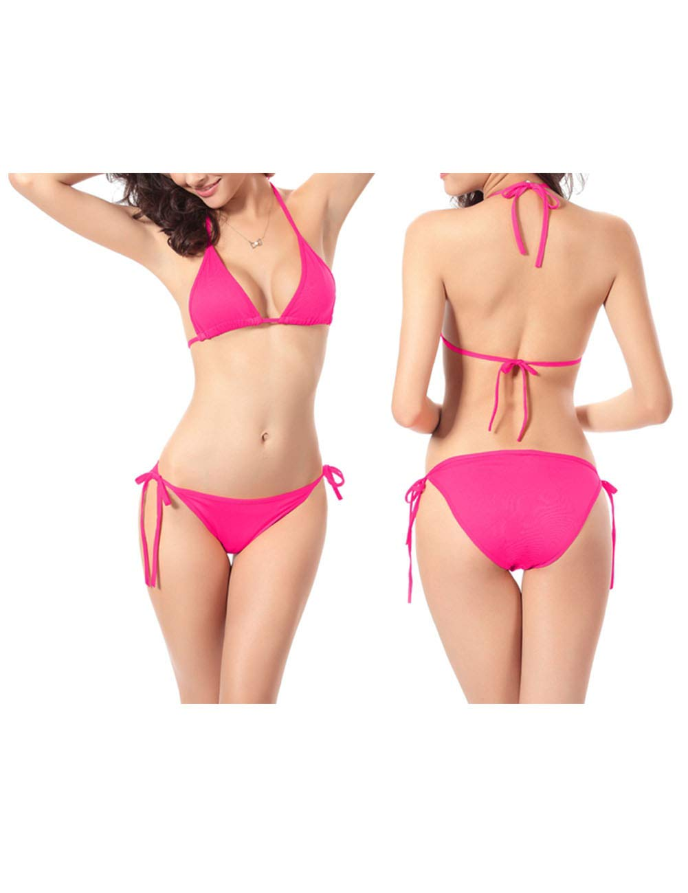 Lyhouse Womens Sexy Bikini Set Push-up Non-Padded Swimsuit Swimwear Bathing Suit Beachwear for Sports Outdoors Swimming Two Piece One Free Size Stretch (Rosered_style02)