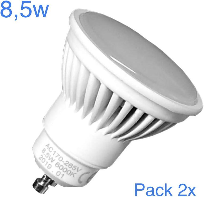 Pack 2x GU10 LED 8,5w Potentisima. Color Blanco Calido (3000K). 970 Lumenes. Angulo de 120 grados. A++