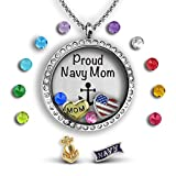 Army Mom Necklace | Navy Mom Necklace For Mom Air Force Mom Jewelry | Military Mom Necklace For Mom | Floating Charm Locket Necklace Gifts For Mom For Army Mom Floating Locket Charm Necklace