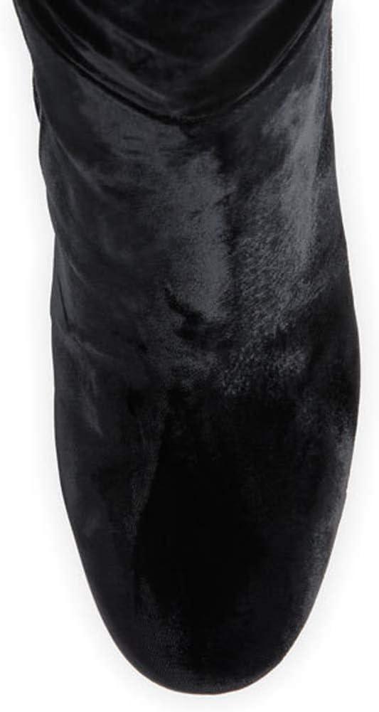 MKXF Femmes épais Haut Talon Bottes Plus Genou à tête Ronde Black
